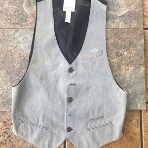 DIESEL mens formal vest blazer L gray black